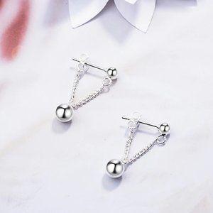 NEW 925 Sterling Silver Bead Tassel Drop Earrings